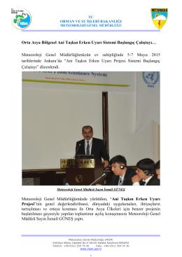 Orta Asya Bölgesel Ani Taşkın Erken Uyarı Sistemi Başlangıç