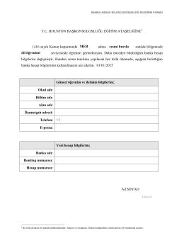 Banka Hesap Bilgileri Değişikliği Bildirim Formu