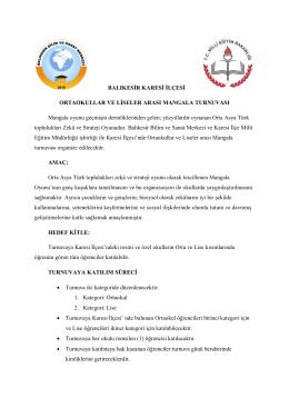 Turnuva Şartnamesi - karesi ilçe milli eğitim müdürlüğü