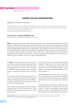 LAZERLE KULAK AKUPUNKTURU - Ankara Akupunktur Derneği