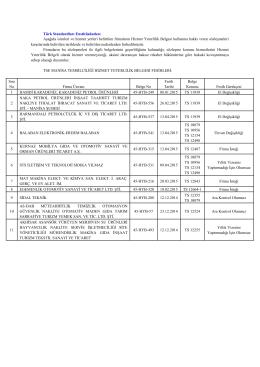 Türk Standardları Enstitüsünden: Aşağıda isimleri ve
