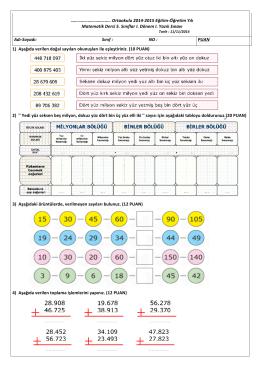 1) Aşağıda verilen doğal sayıları okunuşları ile