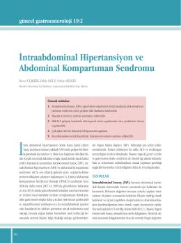İntraabdominal Hipertansiyon ve Abdominal Kompartıman Sendromu