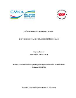 Başvuru Rehberi - Güney Marmara Kalkınma Ajansı