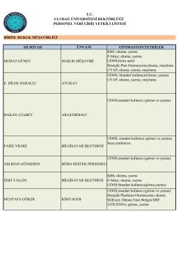 Hukuk Müşavirliği Personel Veri Giriş Yetki Listesi