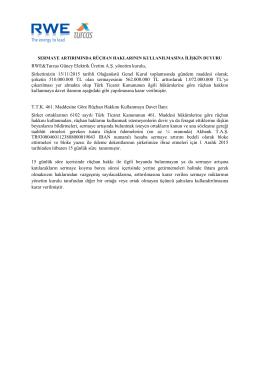 RWE&Turcas Güney Elektrik Üretim A.Ş. yönetim kurulu, Şirketimizin
