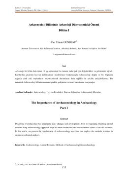 Arkeozooloji Biliminin Arkeoloji Dünyasındaki Önemi Bölüm I The
