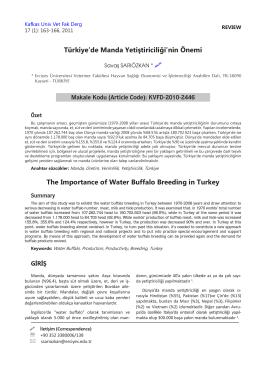 Türkiye`de Manda Yetiştiriciliği`nin Önemi The