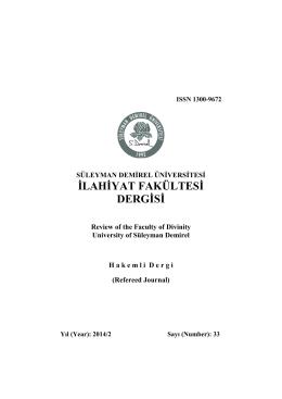 SDÜ İlahiyat Fakültesi Dergisi 33. Sayı