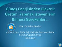 Doç. Dr. Selim Börekci Akdeniz Ünv. Müh. Fak. Elektrik Elektronik