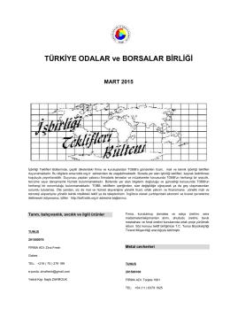 2015 Mart (pdf-254 Kb) - Dünyadan İşbirliği Teklifleri