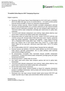 """""""E-meklilik Online Başvuru 2015"""" Kampanya Duyurusu Değerli"""
