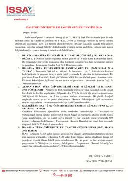ISSA-TÜRK ÜNİVERSİTELERİ TANITIM GÜNLERİ TAKVİMİ (2016