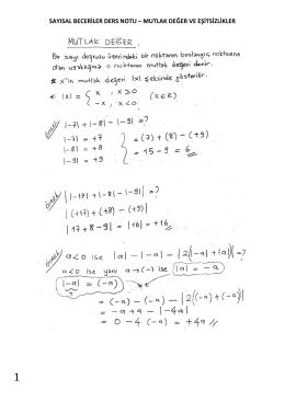 sayısal beceriler ders notu – mutlak değer ve eşitsizlikler