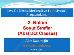 3. Bölüm Soyut Sınıflar (Abstract Classes)
