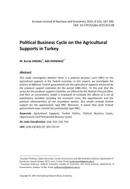 Political Business Cycle on the Agricultural Supports in Turkey
