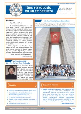 e-Bülten - Türk Fizyolojik Bilimler Derneği