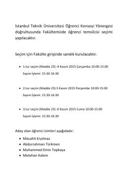 İstanbul Teknik Üniversitesi Öğrenci Konseyi Yönergesi
