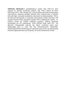 Infliximab (Remicade®) proenflamatuvar sitokin olan TNF