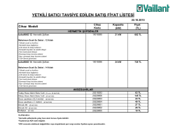 pdf, 91,06 KB Vaillant Yeni turboMAG Fiyat Listesi