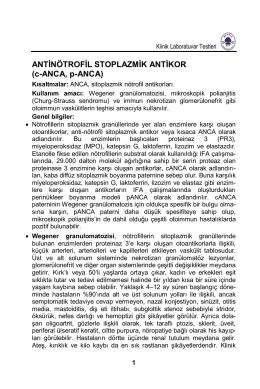 ANTİNÖTROFİL STOPLAZMİK ANTİKOR (c-ANCA, p