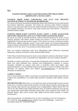 Passolig Banka Kartı ve Kredi Kartı Ürün Bilgi Formu