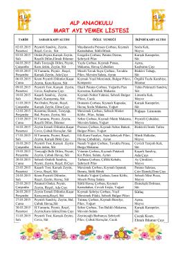 alp anaokulu mart ayı yemek listesi