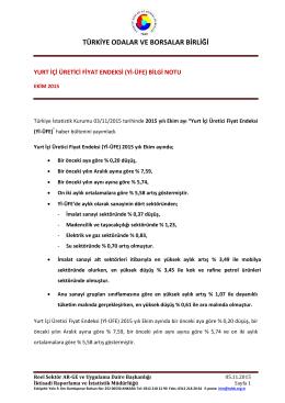 2015 Yılı Ekim Ayı Yurt İçi Üretici Fiyat Endeksi B.N.