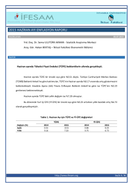 2015 Haziran Ayı Enflasyon Raporu