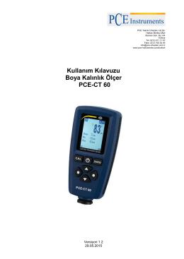 Kullanım Kılavuzu Boya Kalınlık Ölçer PCE-CT 60