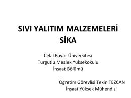 poliüretan sprey köpük - Celal Bayar Üniversitesi
