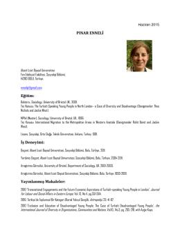 (Pınar Enneli CV (Haziran 2015)) - Sosyoloji Bölümü
