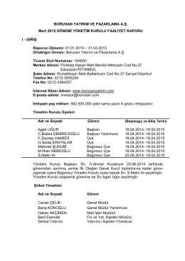31 Mart 2015 - Borusan Yatırım