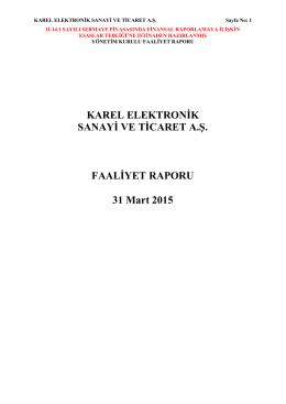 2015 Faaliyet raporu Q1