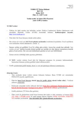 1/3 TOBB ETÜ İktisat Bölümü İKT 332 Bahar 2015 Ödev #1