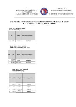 2011-2012 eğitim öğretim yılı güz yarıyılı kontenjan önerileri
