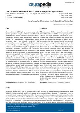 Dev Peritoneal Mezotelyal Kist: Literatür Eşliğinde