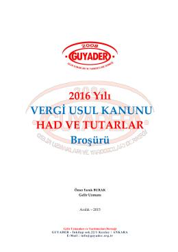 2016 VUK Broşürü - Gelir İdaresi Gelir Uzmanları ve Yardımcıları