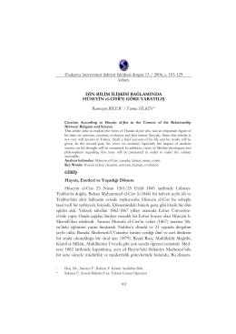 Bu PDF dosyasını indir - Sakarya Üniversitesi İlahiyat Fakültesi Dergisi