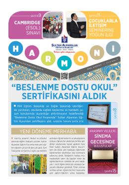 beslenme dostu okul - Sultan Alparslan Eğitim Kurumları