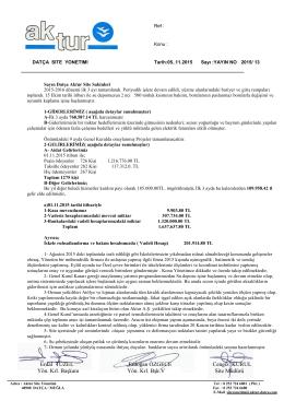 05.11.2015 2015 / 13 üç aylık faaliyet raporu