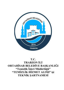 Teknik Şartname - Ortahisar Belediyesi