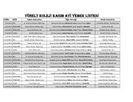 yönelt koleji kasım ayı yemek listesi