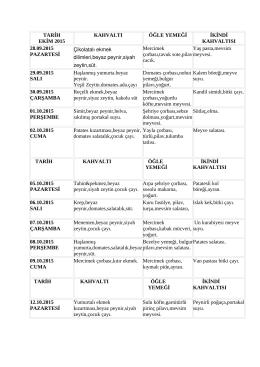 TARİH EKİM 2015 KAHVALTI ÖĞLE YEMEĞİ İKİNDİ KAHVALTISI