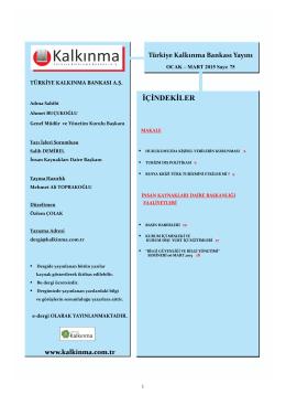 İÇİNDEKİLER - Türkiye Kalkınma Bankası