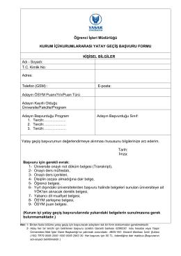 Öğrenci İşleri Müdürlüğü KURUM İÇİ/KURUMLARARASI YATAY