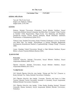 Dr. Ülke Uysal Curriculum Vitae 17.07.2015 KİŞİSEL BİLGİLER Tam