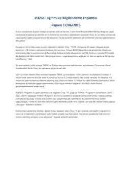 IPARD II Eğitimi ve Bilgilendirme Toplantısı Raporu 17/06/2015