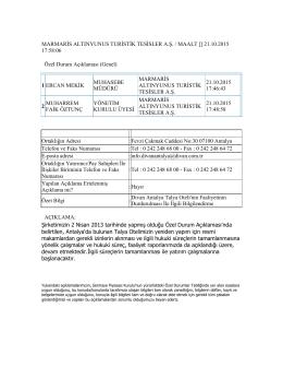 Özel Durum Açıklama Formu (21.10.2015)