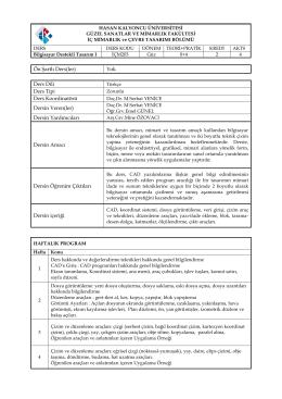 EK 2 - İç Mimarlık ve Çevre Tasarımı Bölümü